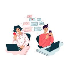 Love correspondence online chat vector