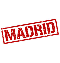 madrid red square stamp vector image