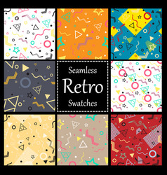 memphis style seamless patterns set vector image
