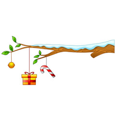 Merry christmas with tree branch and gift vector
