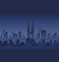 Midnight in town city background vector