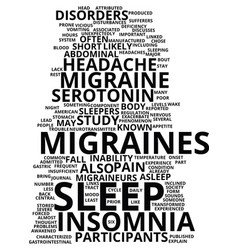 Migraines and insomnia text background word cloud vector