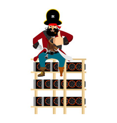 mining farm and pirate filibuster on mining rig vector image