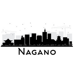Nagano japan city skyline black and white vector