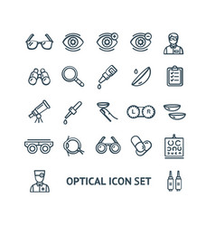 optical signs black thin line icon set vector image