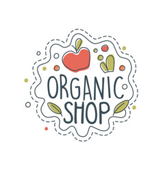 Organic shop logo label for healthy food store vector
