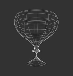 Outline wine glass on the black background vector
