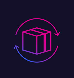 Parcel package return icon vector