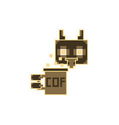 Pixel owl with coffee cup vector