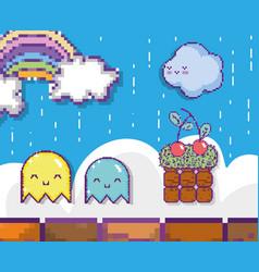 pixelated videogame scenery vector image