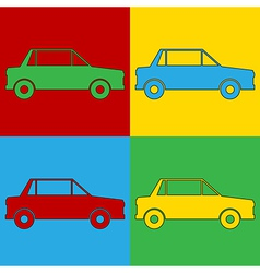 Pop art car icons vector