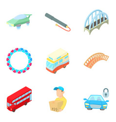 public transport icons set cartoon style vector image
