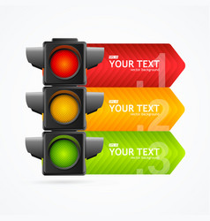 Realistic 3d detailed road traffic light banner vector