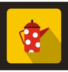 Retro red coffee kettle with white dots icon vector