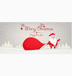 santa claus with big bag gift on snowy background vector image