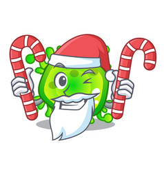 santa with candy virus cells bacteria microbe vector image