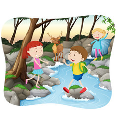 scene with kids in the forest vector image