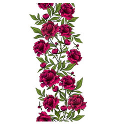 seamless vertical garlands with red peonies vector image