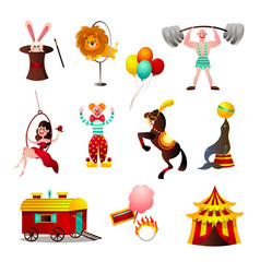 set circus colorful animals and person at vector image