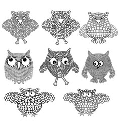 Set eight amusing owls vector