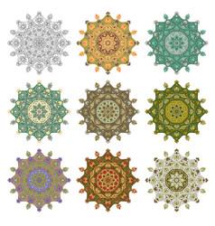Set mandala different color 44 vector