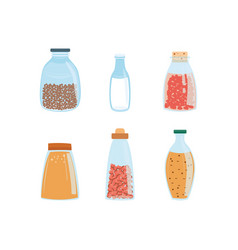 set of different glass bottles vector image