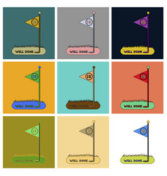 Set of icons in flat design golf course well done vector