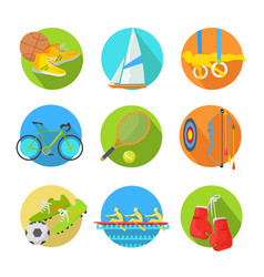 sports flat icons collection vector image