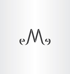 Stylized m letter logo m icon black symbol vector