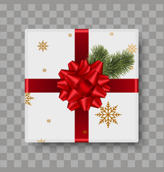 top view white gift box with red bow vector image
