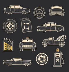 Transportation vehicle and service vintage icons vector