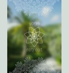tropical yoga retreat banner with mandala vector image