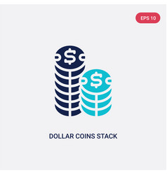 two color dollar coins stack icon from business vector image
