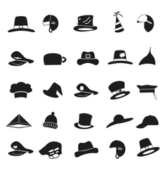 various black hats icons set eps10 vector image