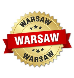 Warsaw round golden badge with red ribbon vector