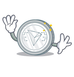 waving tron coin character cartoon vector image