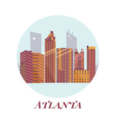 Welcome to atlanta posterview on city skyscrapers vector