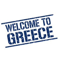 welcome to greece stamp vector image
