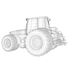 Wire-frame tractor isolated on white background vector