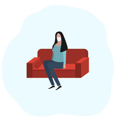 Woman sitting at home on a sofa in a medical mask vector