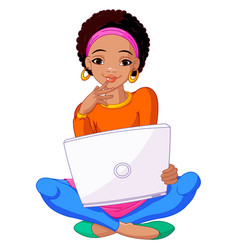 young african woman sitting on cushion with laptop vector image