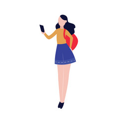 young tourist woman looking at smartphone vector image