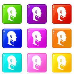 cervical collar icons 9 set vector image