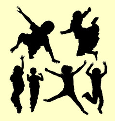 teen people jumping and playing silhouette vector image vector image