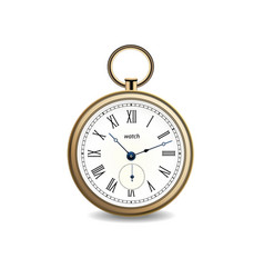 vintage gold watch on white background vector image vector image
