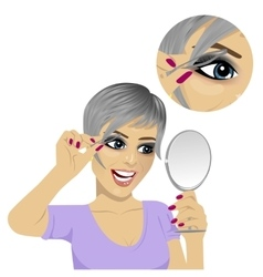 young woman plucking her eyebrows with tweezers vector image