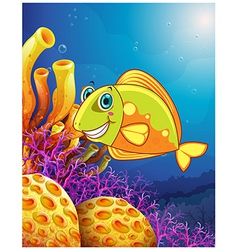 A smiling fish under the sea vector image