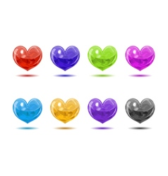 Colored glossy hearts vector image vector image