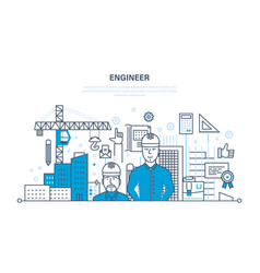 engineer working construction environment around vector image