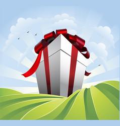 Giant gift in fields vector